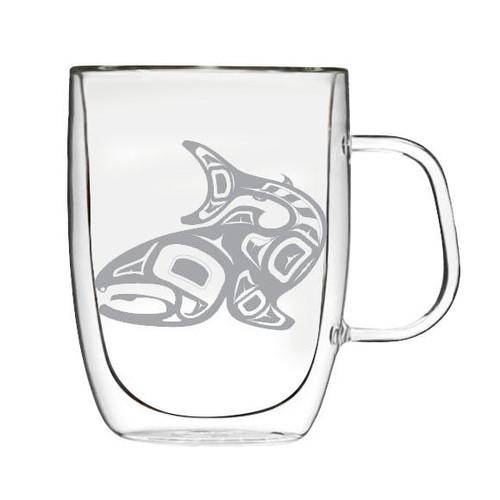 Double Wall Glass Mug -Salmon