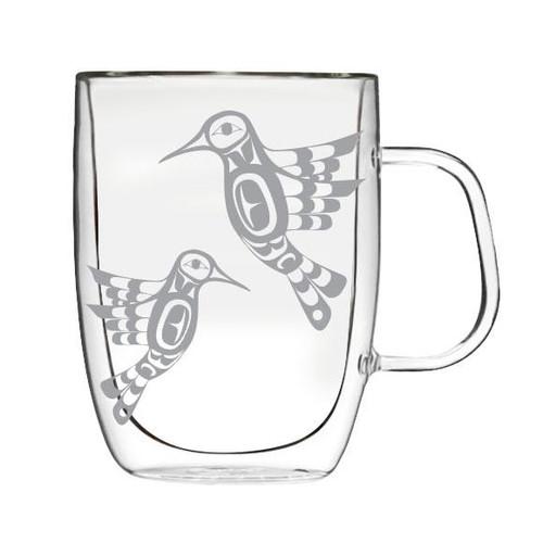 Double Wall Glass Mug -Hummingbird