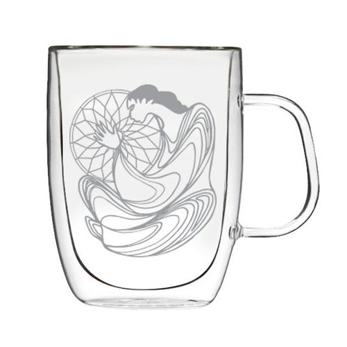 Double walled Glass Mug -Dreamcatcher