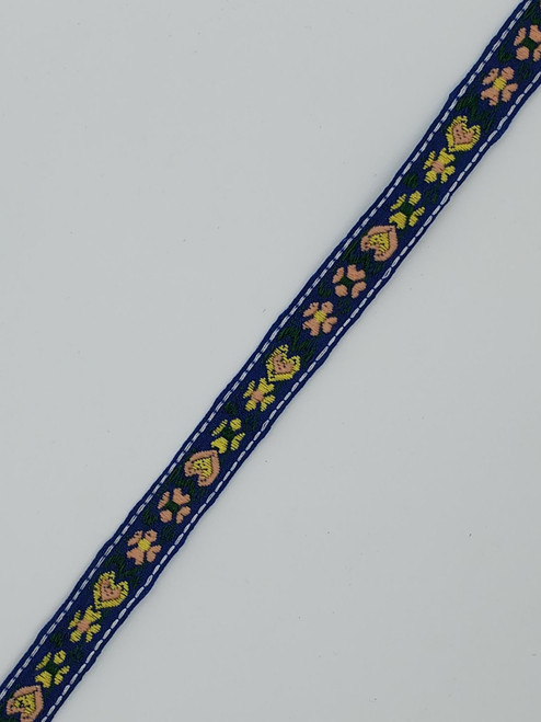 Floral Trim : Blue/Yellow