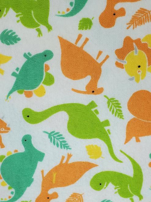 Dinosaur Print Flannel: White