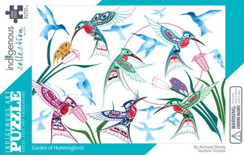 1000 pc Art Puzzle: Garden of Hummingbirds