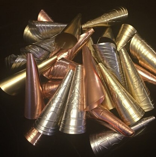 Anishinaabe Bimishimo  Child jingles  Selection of Embossed in Brass, Silver, Copper 100 cones per bag
