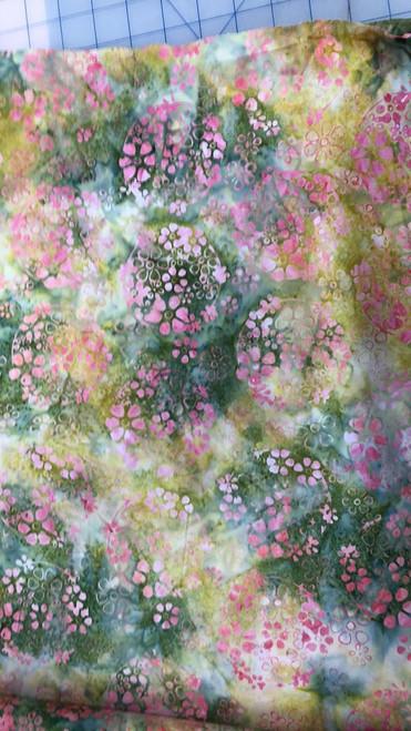 Floral Batik -Green & Pink