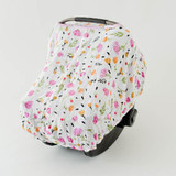 Car Seat Canopy in Berry and Bloom