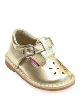 Metallic Gold T-Strap Mary Janes