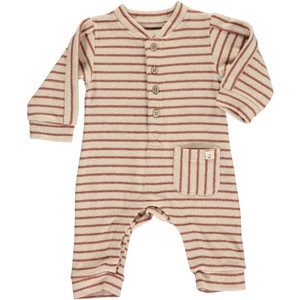 Brown/Beige Romper With Wood Buttons