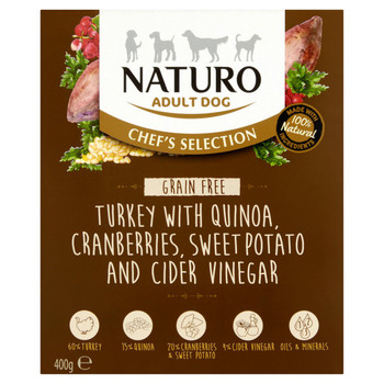 Chef's Selection Turkey with Quinoa, Sweet Potato, Cranberries & Cider Vinegar Wet Dog Food Meal Boxes for Adult Dogs, 400g, Case of 7