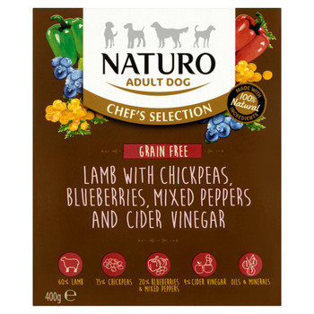 Chef's Selection Lamb with Chickpeas Mixed Peppers, Blueberries & Cider Vinegar Wet Dog Food Meal Boxes for Adult Dogs, 400g, Case of 7