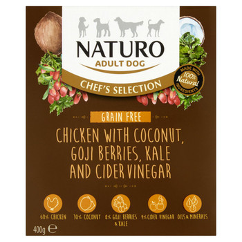 Chef's Selection Chicken with Coconut, Goji Berries, Kale & Cider Vinegar Wet Dog Food Meal Box for Adult Dogs