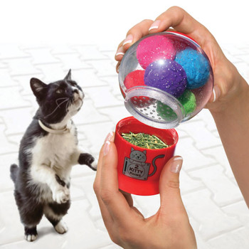 Catnip Infuser with Premium North American Catnip & 6 Pom-Poms for Batting Fun