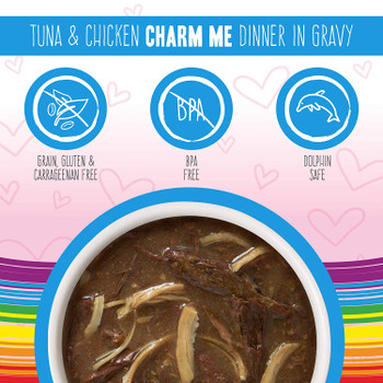 OMG! Tuna & Chicken Charm Me Cat Food Pouches in Gravy, 3oz, Case of 12