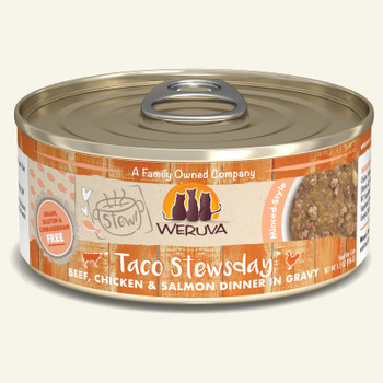 Taco Stewsday Beef, Chicken & Salmon in Gravy Canned Cat Food, 5.5oz, Case of 8