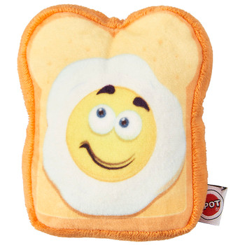 "Fun Food Egg on Toast 4.75"" Squeaky Dog Plush Toy"