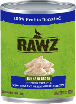 Hunks In Broth Chicken Breast & New Zealand Green Mussels Canned Dog Food, 14oz, Case of 12