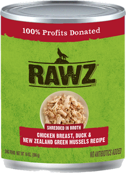 Shredded In Broth Chicken Breast, Duck & New Zealand Green Mussels Canned Dog Food, 14oz, Case of 12