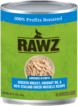 Shredded In Broth Chicken Breast, Coconut Oil & New Zealand Green Mussels Canned Dog Food