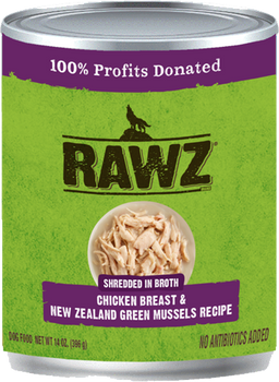 Shredded In Broth Chicken Breast & New Zealand Green Mussels Canned Dog Food
