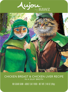 Aujou Chicken Breast & Chicken Liver in Silky Broth Wet Cat Food Pouch