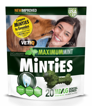 Minties Maximum Mint Dental Bones for Dogs - Medium/Large