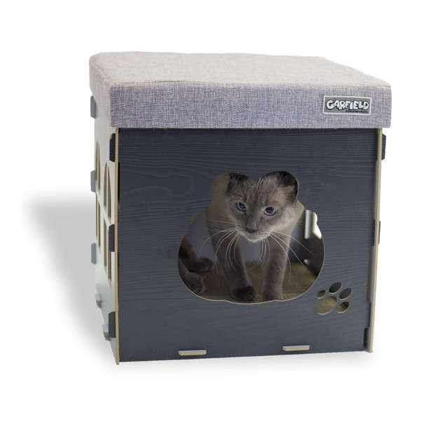 Garfield Cat & Small Dog Condo Ottoman End Table with Scratching Post