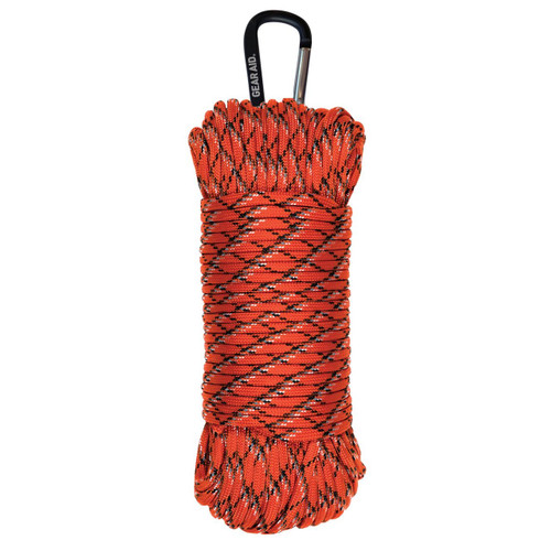 Gear Aid 550 Paracord With Carabiner - 100ft Orange Reflective