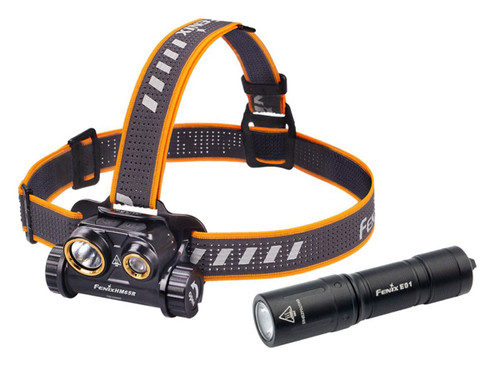 Fenix HM65R Rechargeable Headlamp + BONUS E01 V2.0 AAA Flashlight