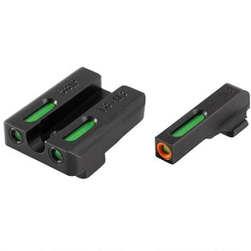 Truglo TFX PRO High Set GLOCK 20 21 25 28 29 30 31 32 37 40 41 Front And Rear Set Green TFO Night Sights Orange Ring Steel Black