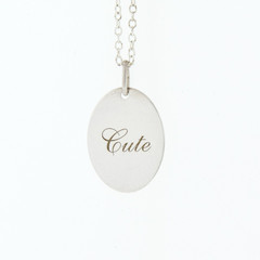 Ladies Sterling Silver 925 CUTE Script Charm Pendant Necklace