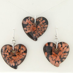Ladies Black & Copper Foil Murano Glass Heart Necklace & Earring Set