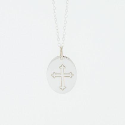 Ladies Sterling Silver 925 Fleur-De-Lis Cross Charm Pendant Necklace
