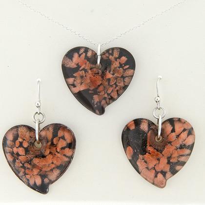 Ladies Black & Copper Foil Murano Glass Heart Necklace & Earring Set