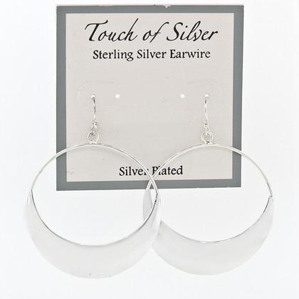 """Ladies Silver Plate Circle Drop 1mm Hoop Earrings 1-1/2"""""""
