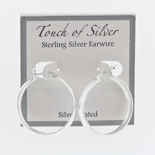 Ladies Silver Plated Snap Bar 5mm Wide Hoop Earrings 1""