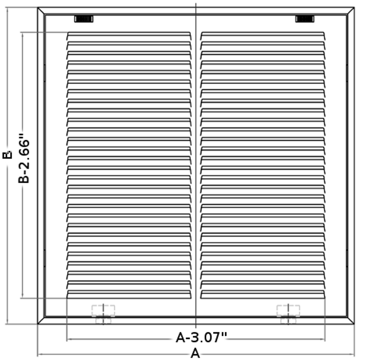 10x20 return air filter grille stamped front dimensions
