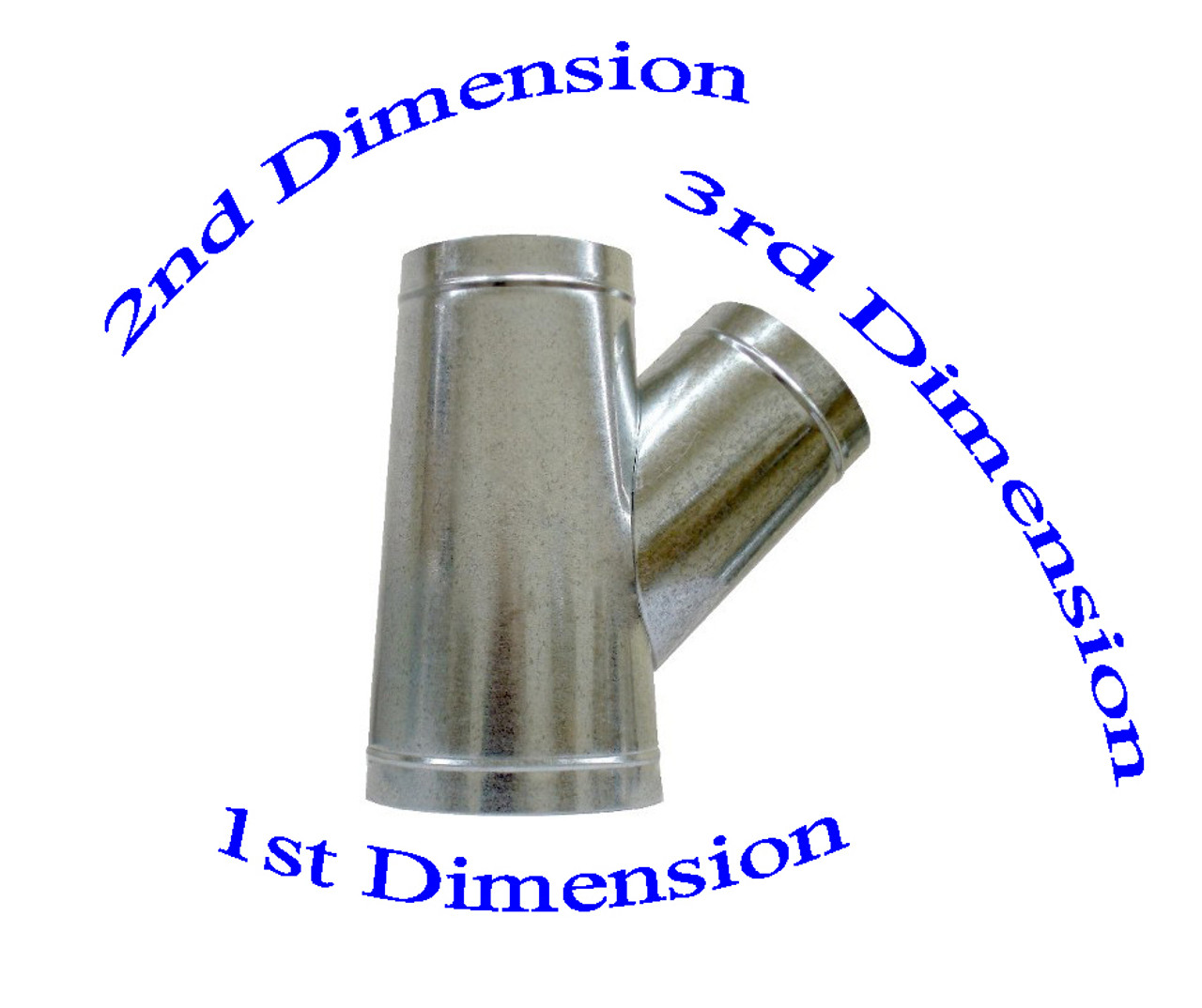 "4"" x 4"" x 3"" Reverse Flow Duct Wye Branch"