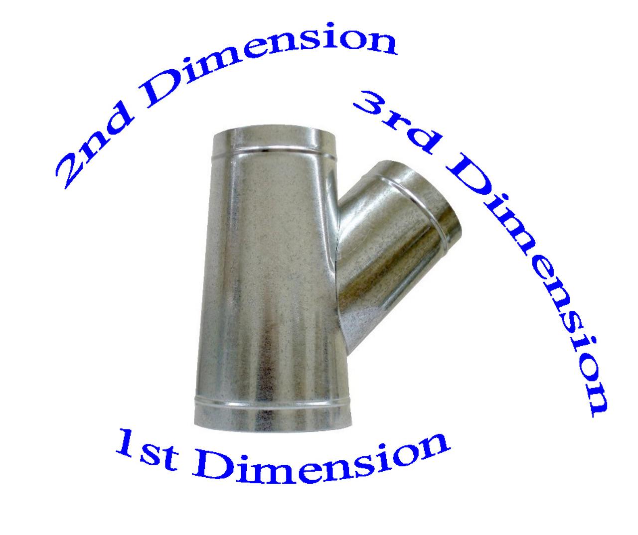 "4"" x 4"" x 4"" Reverse Flow Duct Wye Branch"