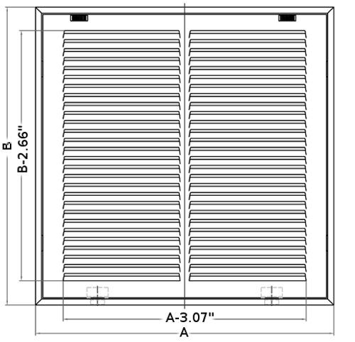 24x8 return air filter grille stamped front dimensions