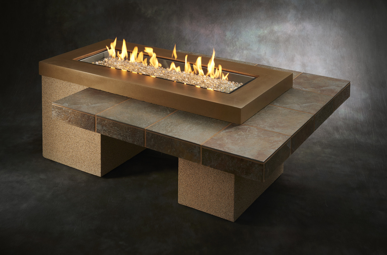 Uptown Brown Crystal Fire Pit Table With Tile Top And Rectangular Burner Upt 1242 Brn