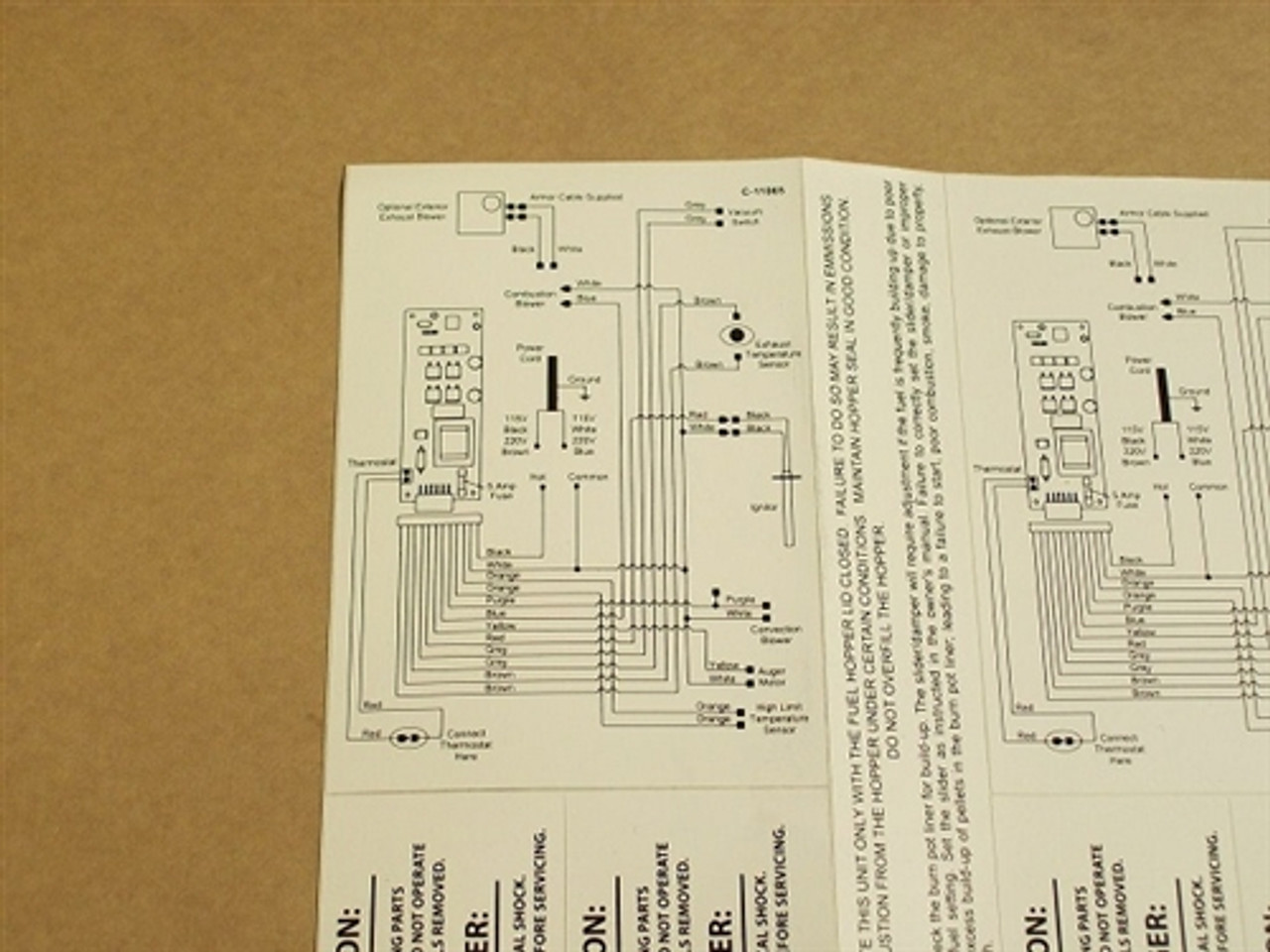 Replacement Enviro EF5 Self Adhesive Wiring Diagram - 50-335Stove Parts Unlimited