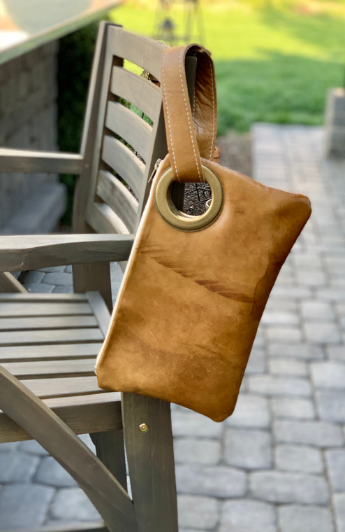 One or Two Inch Grommet Leather Clutch