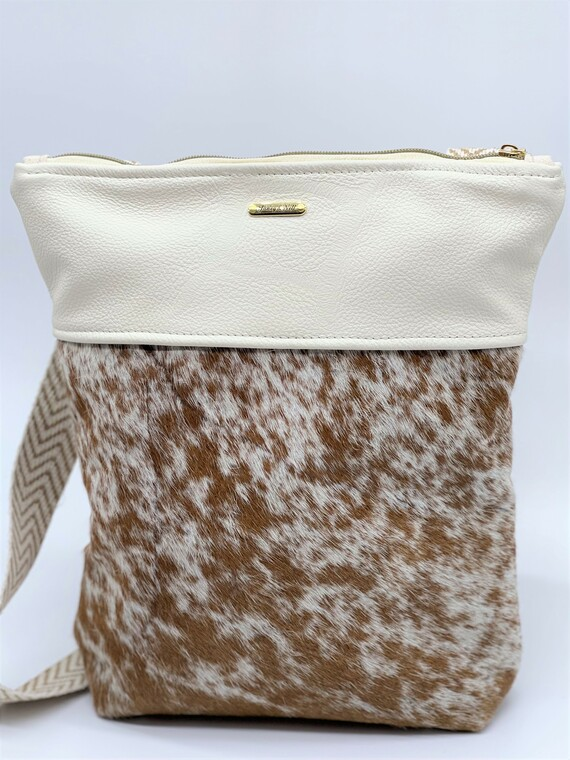 Cream Leather and Brown Cow Hide Hair Crossbody