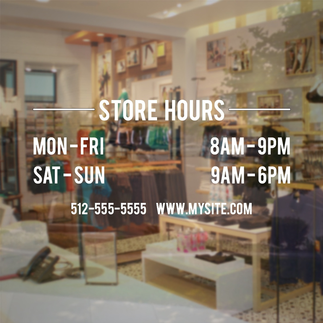 Store hours window decal small