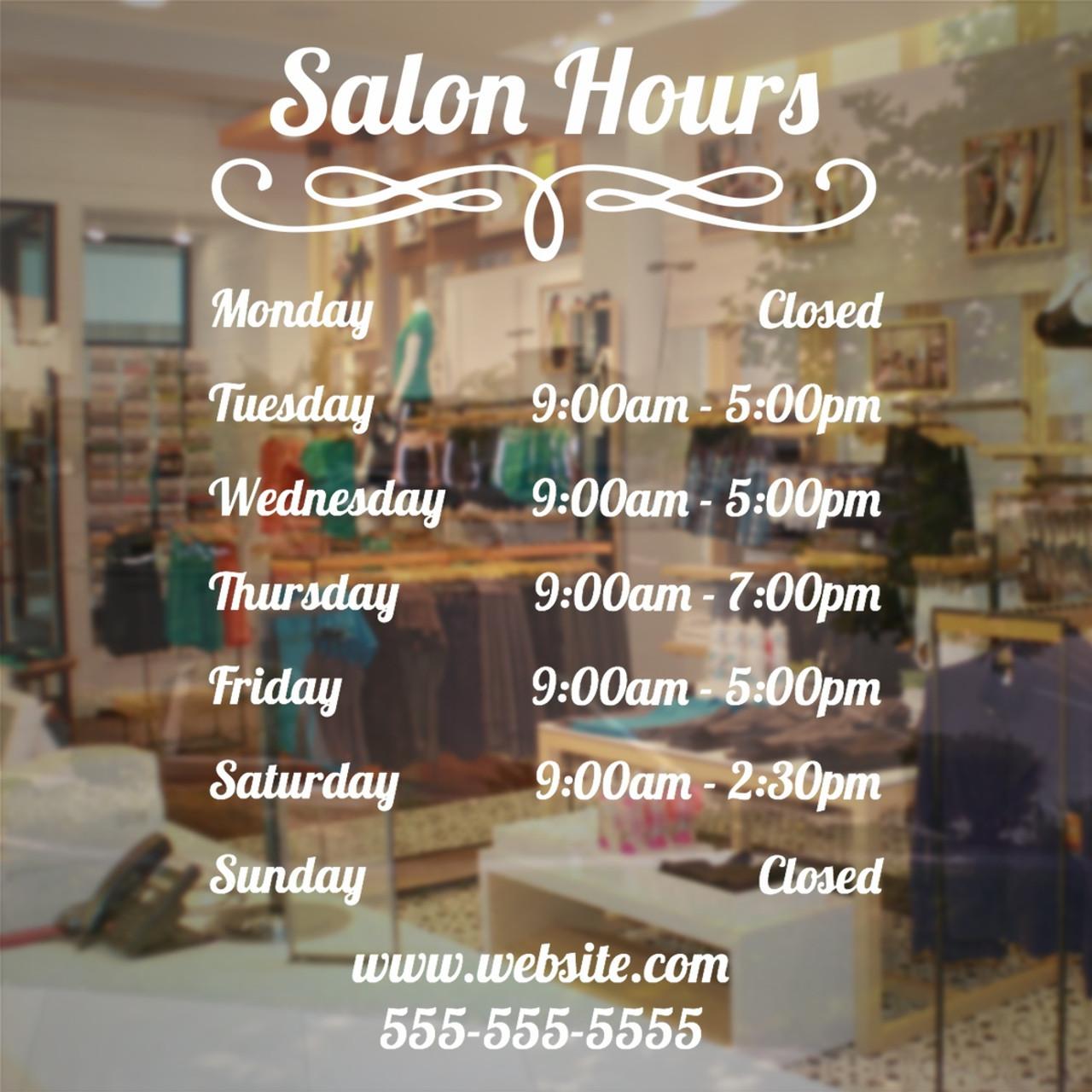 Salon hours window decal