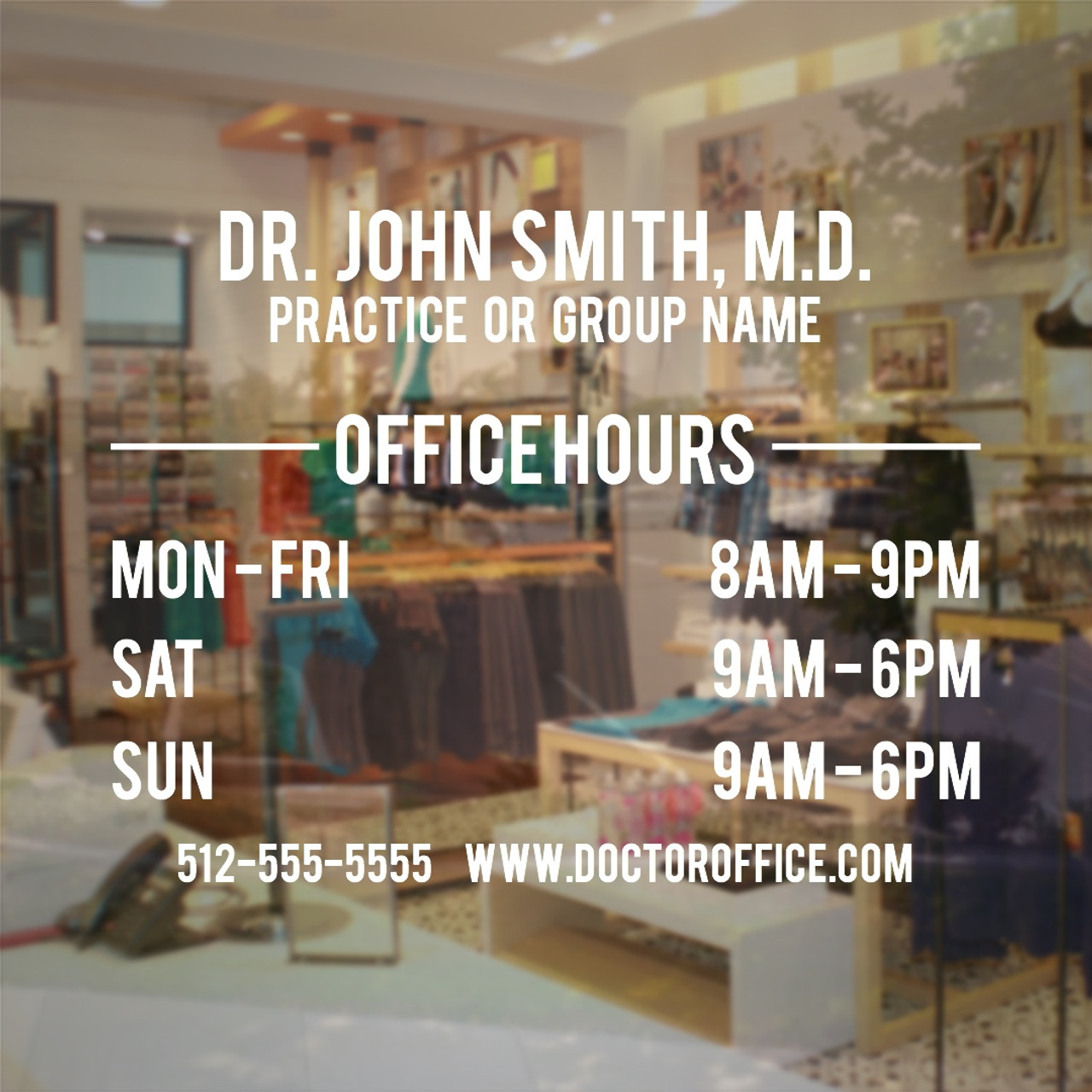 Doctor office hours window decal small