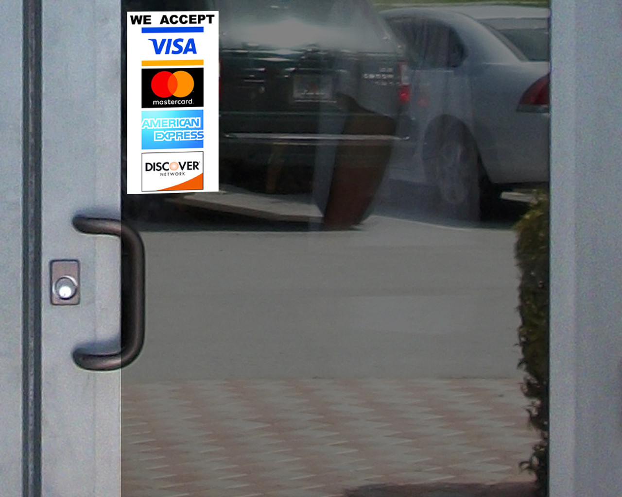 We Accept Credit Card Vinyl Sticker Waterproof with UV Coating 4x8 Stickers