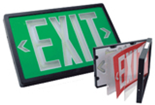 Red  Single Face Exit Sign - 10 Year Self Luminous - Black Housing - (TCP Brand)