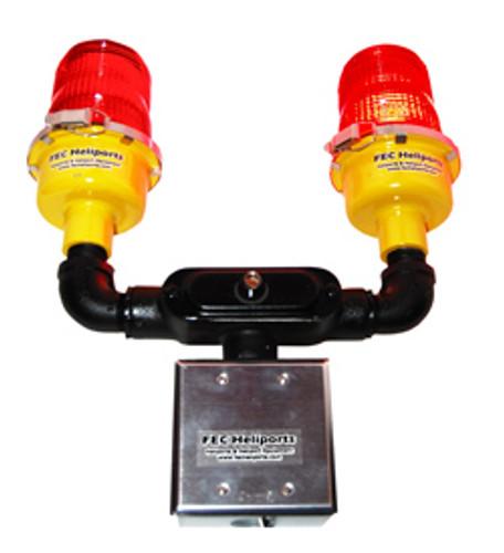 FEC LED Dual Red Pole Mount Obstruction Lights With Backup