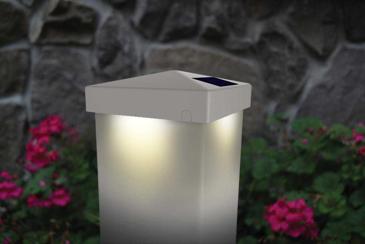 Solar Deck Post Cap Lights White 4x4 Or 5x5 Pyramid Shape Design