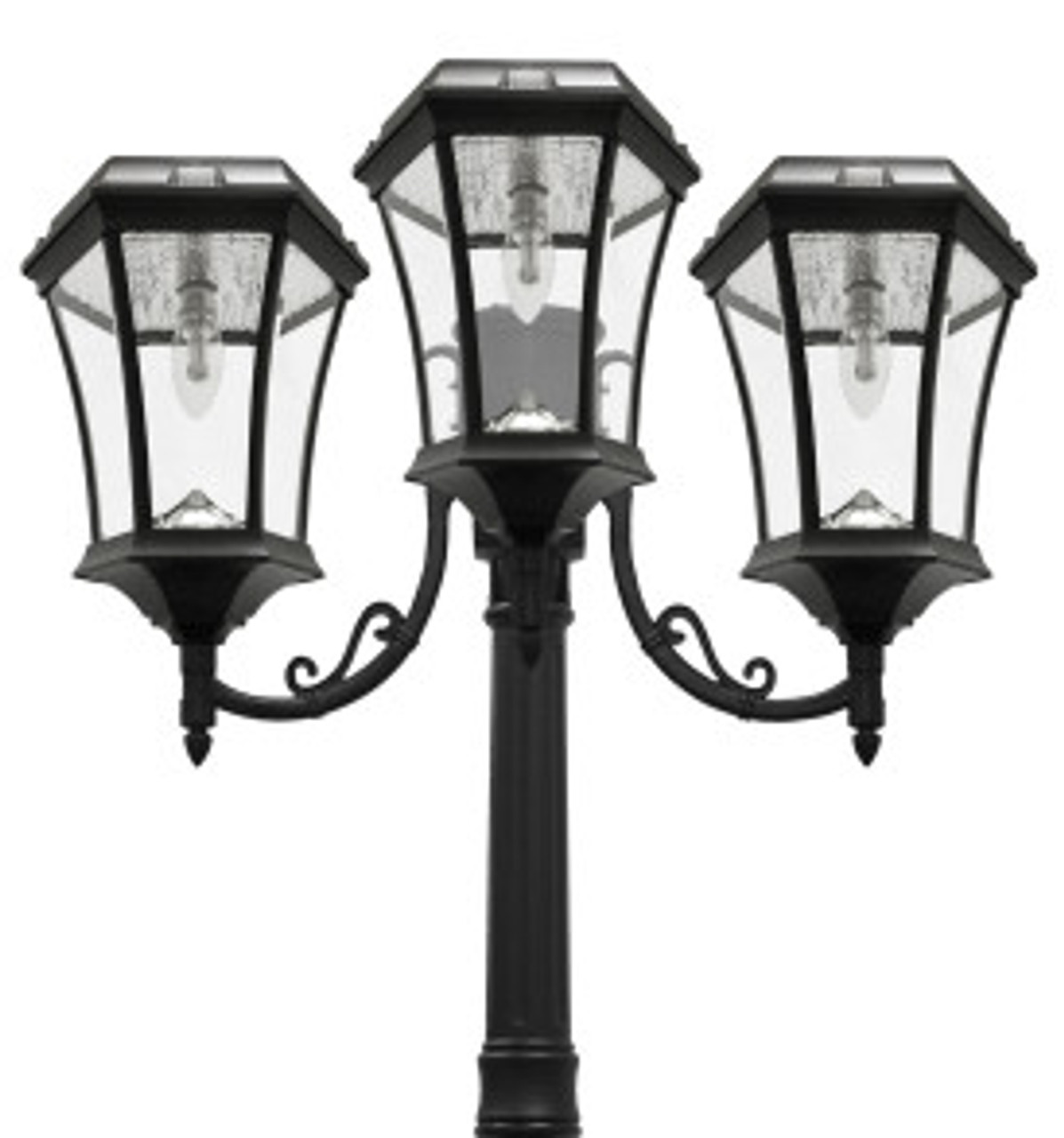 Image of: Solar Lamp Post Light Victorian Triple Coach Lanterns Solar Bulb